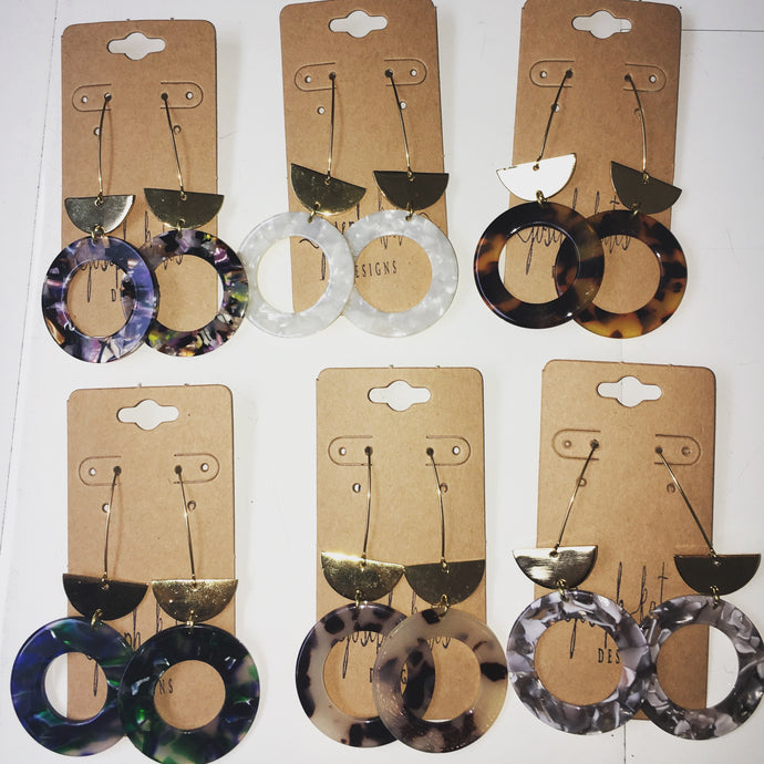 Circular acrylic earrings