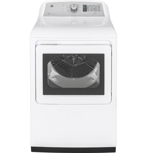 GE 7.4 Cu. Ft. White & Black Front Loading High Efficiency Gas Dryer