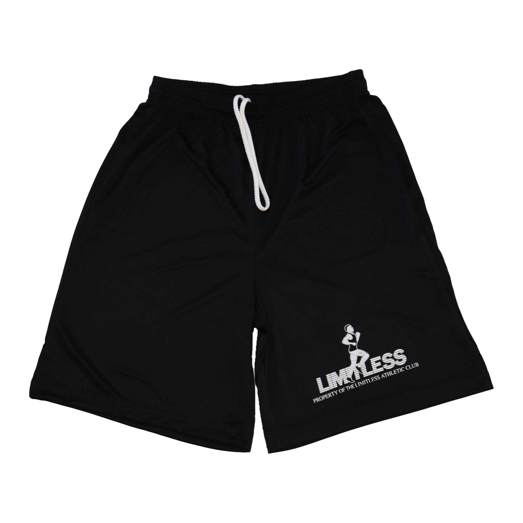 "Black Runners Shorts - ""Property of The Limitless Athletic Club"" text on left leg sleeve - The Limitless Company"