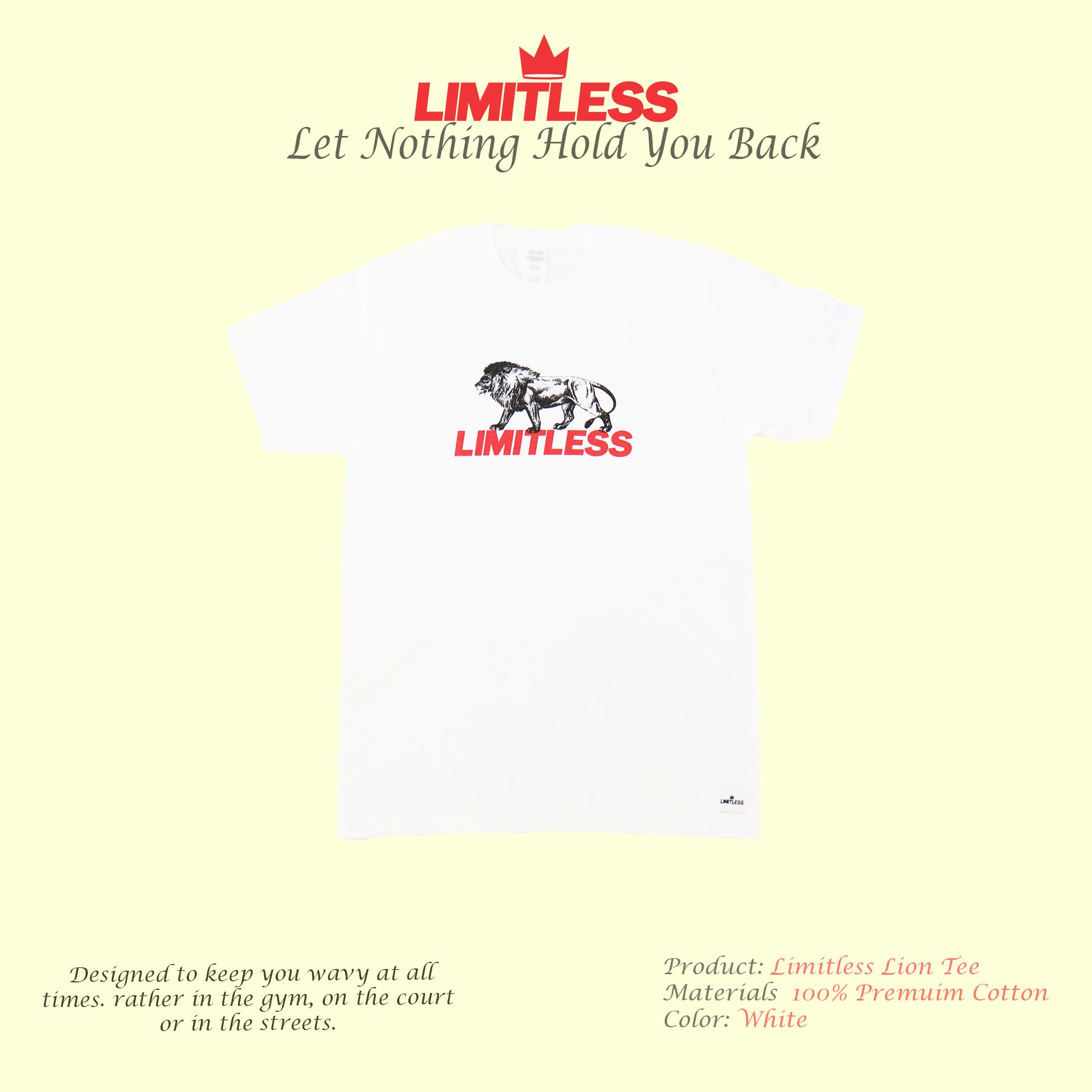 Lion with Red Limitless Logo T-shirt - Product Spolight
