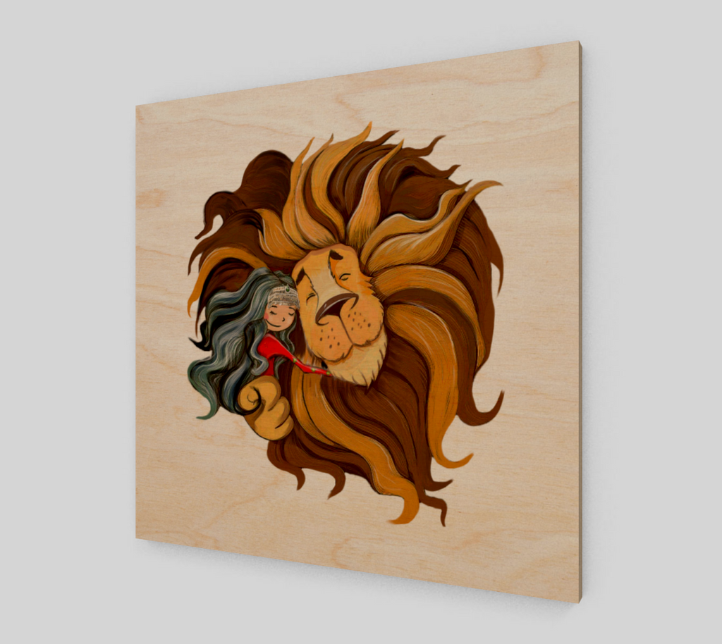 Afghanistan Girl and Lion - Wall Art
