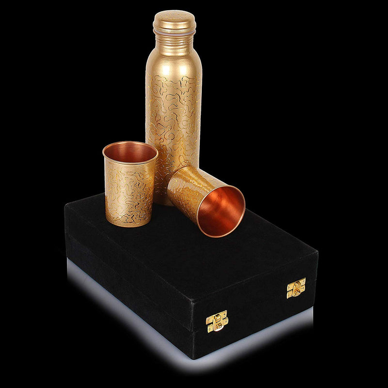 Mammals Set of Floral Printed Pure Copper Water Bottle 1000 ml and 2 Copper Digital Golden Printed Glasses with Valvet Box Packing
