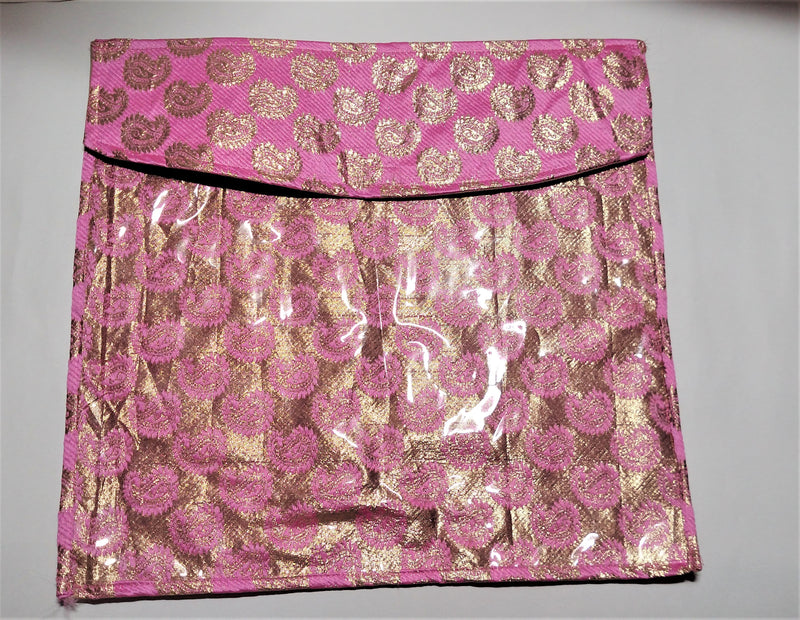 Pink And Golden Flip Saree Cover