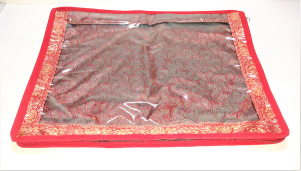 Transparent Red Saree Zip Cover