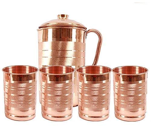 100% Pure Copper Jug with 4 Glass Set