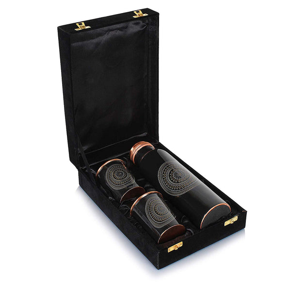 Mammals Set of Floral Printed Pure Copper Water Bottle, 1000 ml and 2 Copper Digital Black Printed Glasses with Velvet Box