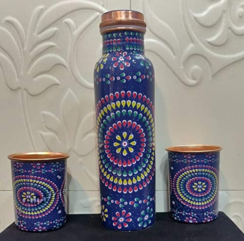Mammals Set of Jaipuri bluePrinted Copper Water Bottle 1000 ml and 2 Glasses Set