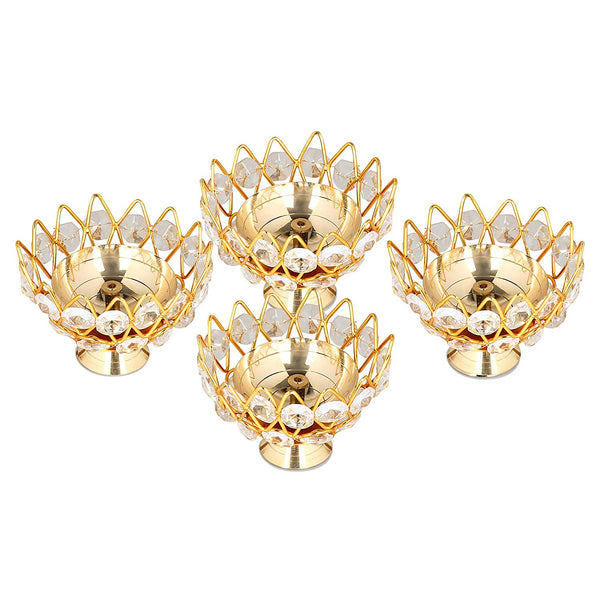 Mammals Brass Crystal Diya Round Bowl Shape Kamal Deep Akhand Jyoti Oil Lamp for Home Temple Puja Decor (Gold, 4 inches, Small) - Pack of 4