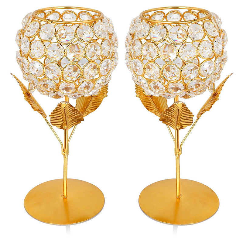 Mammals Crystal Rose Brass Candle Holder for Decoration - Set of 2