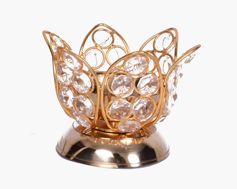 Mammals Decorative Crystal and Copper Brass Oval Shape Crystal Tea Light Holder/Akhand Diya/Puja Lamp (Medium, Golden) -Set of 2