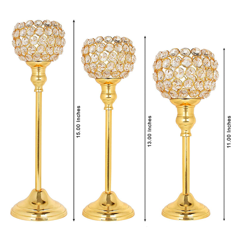 Mammals Beautiful Crystal Gold Polish Candle Holder for Decoration (Golden, Medium) - Set of 3