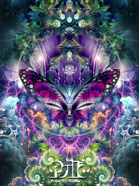 Butterfly Visionary Art - Psychedelic Art Print - Psy Trippy