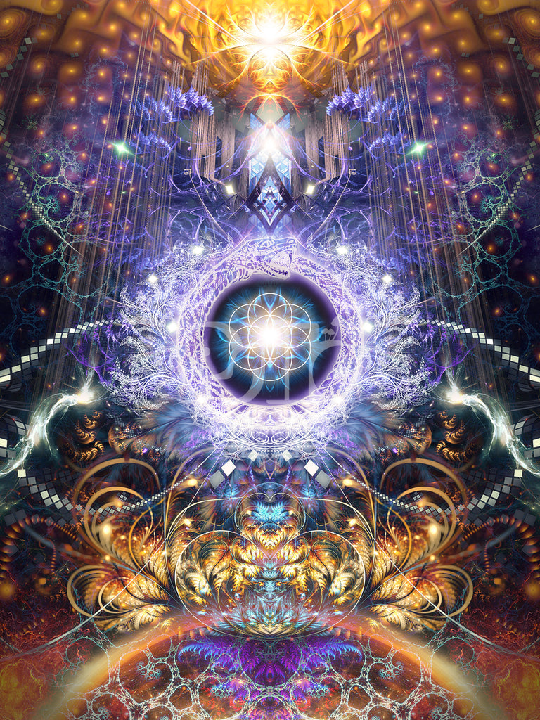 """""""Immortal Truth"""" Psychedelic Ouroboros Visionary Art, DMT, Seed of Life, Reincarnation Art"""