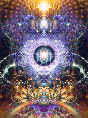 """""""Immortal Truth"""" Psychedelic Ouroboros Visionary Art, Trippy Flower of Life print, Sacred Geometry"""