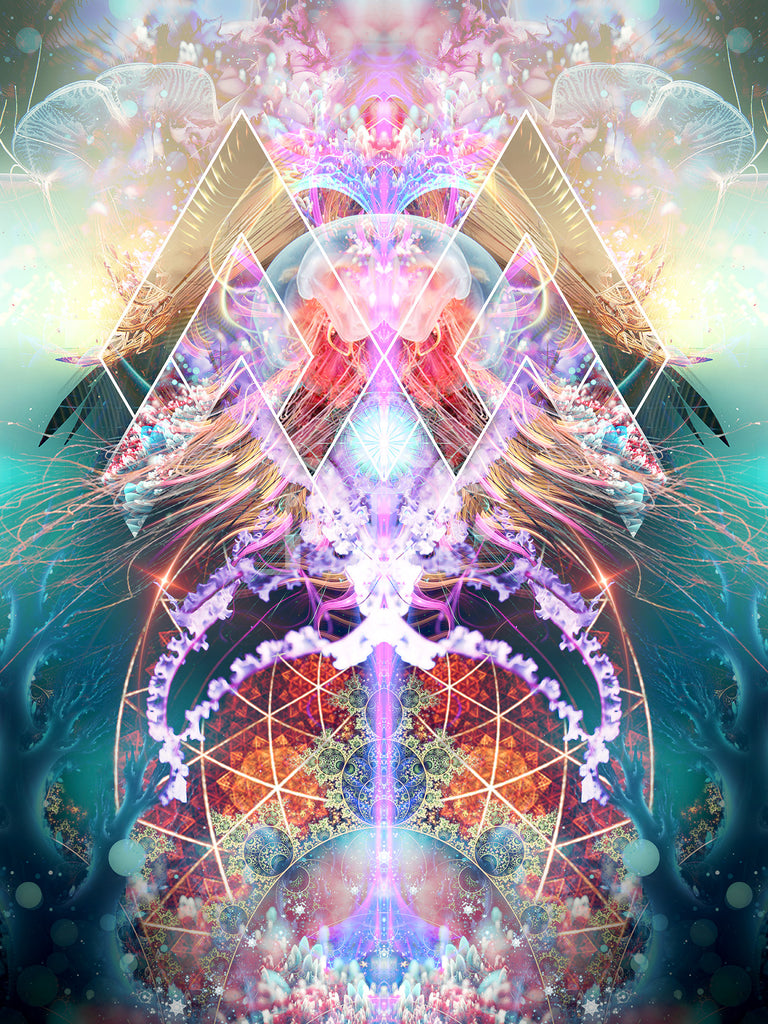 """""""Primordial Soup"""" Psychedelic Trippy Jelly Fish Art, Jellyfish Psy Art, Fractal"""