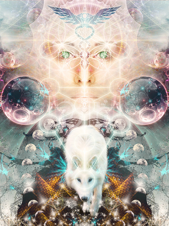 """""""Protector of Light"""" Wolf Visionary Art, Ayahuasca, Spirit Animal Art, Psychedelic"""