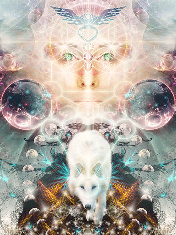 """""""Protector of Light"""" Psychedelic Wolf Visionary Art, Spirit Animal Art, Moon Phase"""