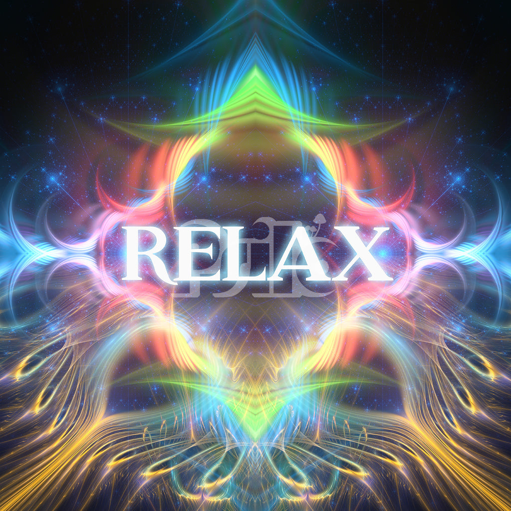 """""""Relax"""" Psychedelic Fractal Typography Art, Trippy Festival DMT Art"""
