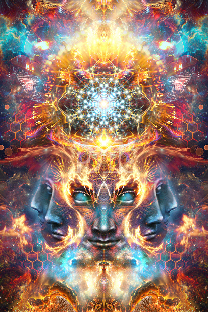"""""""The Wanderers"""" Psychedelic DMT God Head, Many Faced God, Trippy, Festival Art, Visionary Art"""