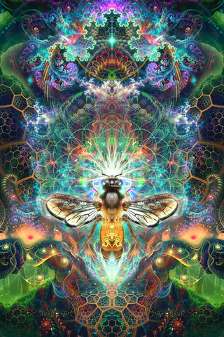 """""""To Bee or Not to Bee"""" Psychedelic Honey Bee Art, Trippy Festival Art, Spirit Animal"""