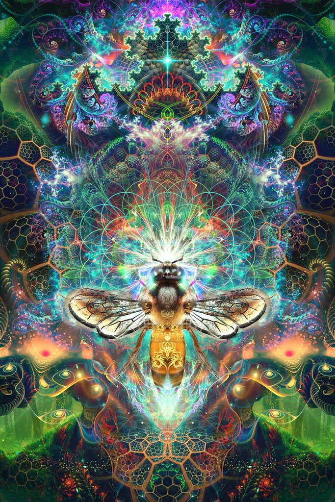 """""""To Bee or Not to Bee"""" Psychedelic Bee Visionary Art, Trippy Honey Bee Spirit Animal Art"""