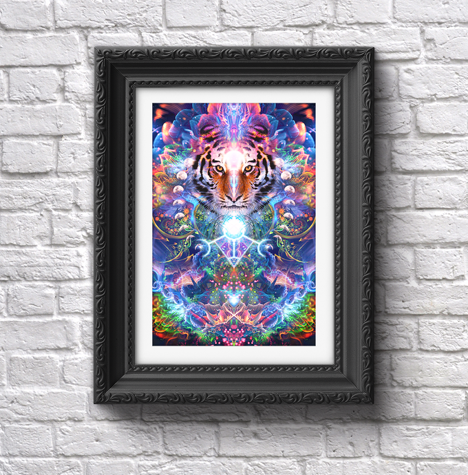 Hunter's Moon - Psychedelic Tiger & Moon Phases Poster