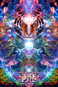 Hunter's Moon - Tiger & Moon Tapestry