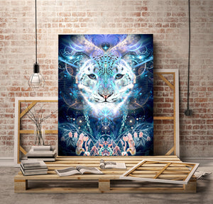 """Solitude"" - Snow Leopard Canvas"