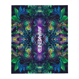 """Awakened"" (With Text) - Psychedelic Throw Blanket"