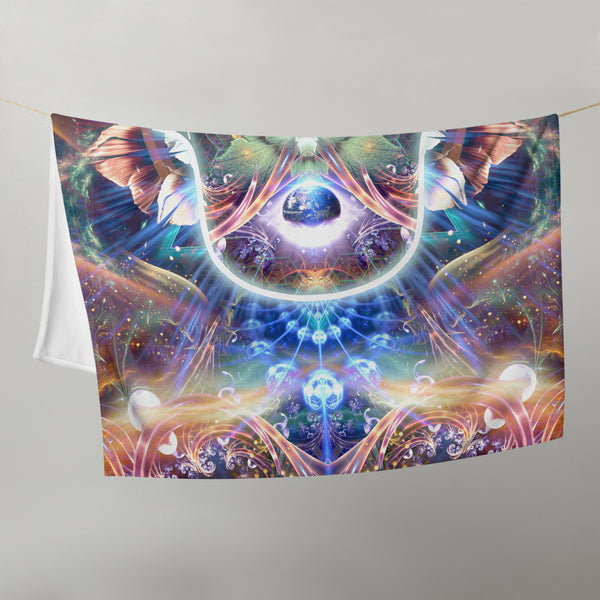 """Divine Protection"" - Hamsa Throw Blanket / Tapestry"