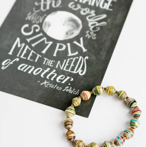 """We Change the World"" Card + Paper Bead Bracelet"