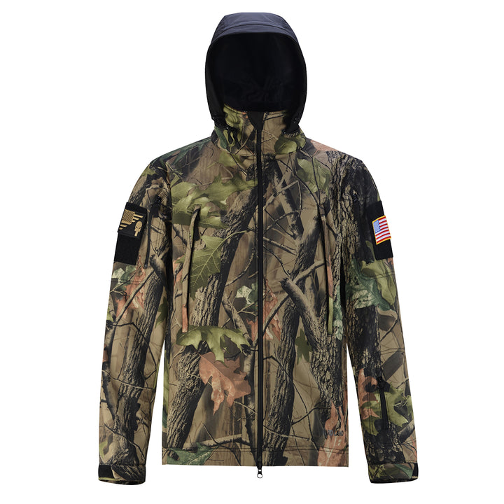 HARD LAND Men's Tactical Soft Shell Jacket Waterproof Outdoor Fleece Coat Hooded - hardlandgear
