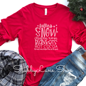 Falling Snow - red long sleeve