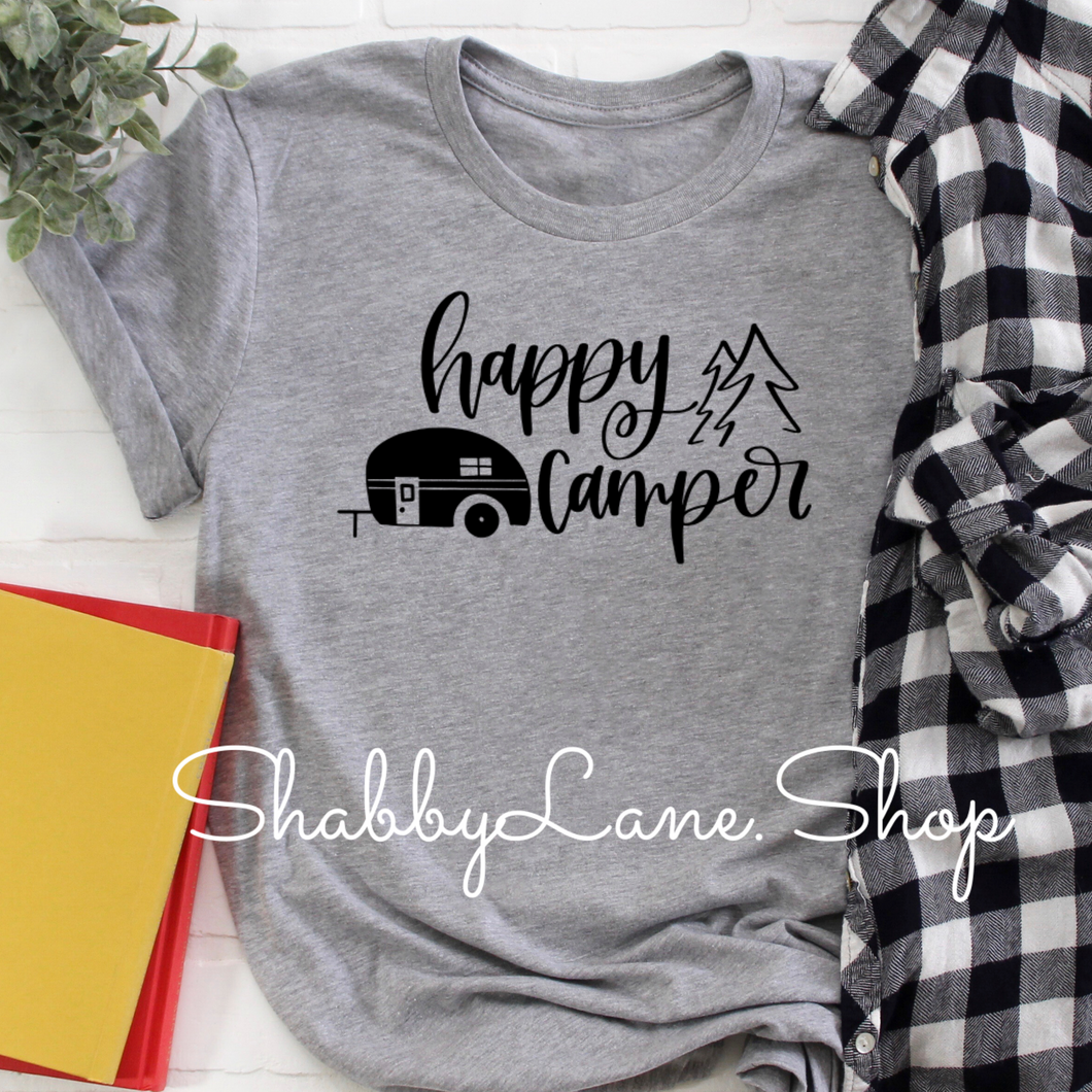 Happy Camper  grey camper black text