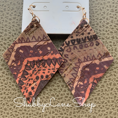 Beautiful cork patterned earrings