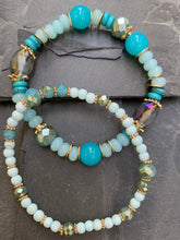 Load image into Gallery viewer, Beaded aqua/blue bracelet duo - Gypsy Soul