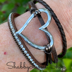 Gorgeous layered heart  bracelet - brown