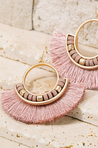 Fan Tassel Earrings - Dusty pink