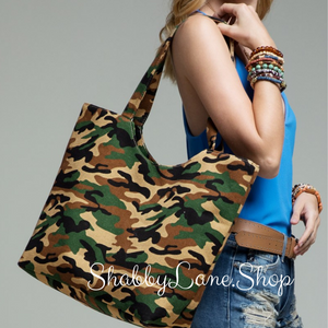 Sweet canvas camo print tote