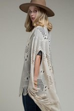 Load image into Gallery viewer, Bohemian style crochet knit vest with fringe - beige