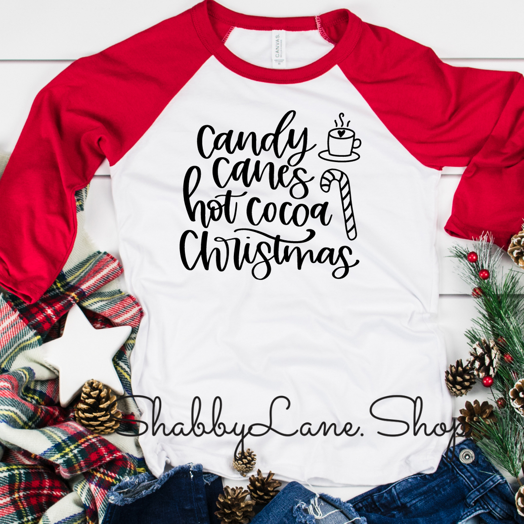Candy Canes Hot Cocoa Christmas- red sleeves