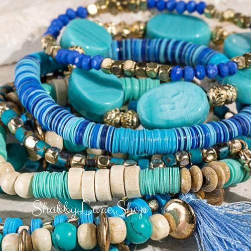 Gorgeous aquas and blues stacked bracelet