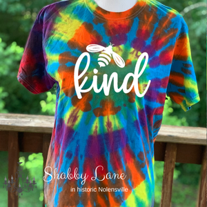 Bee Kind tie dye T-shirt rainbow