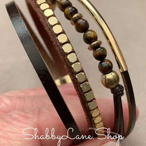 Beaded layered bracelet - brown