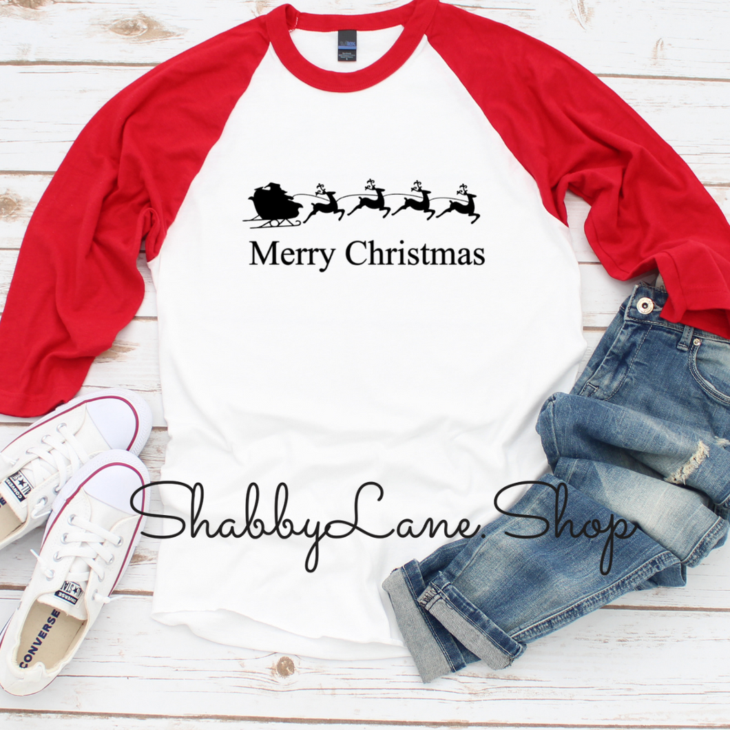 Santa Sleigh Merry Christmas  -unisex red sleeves