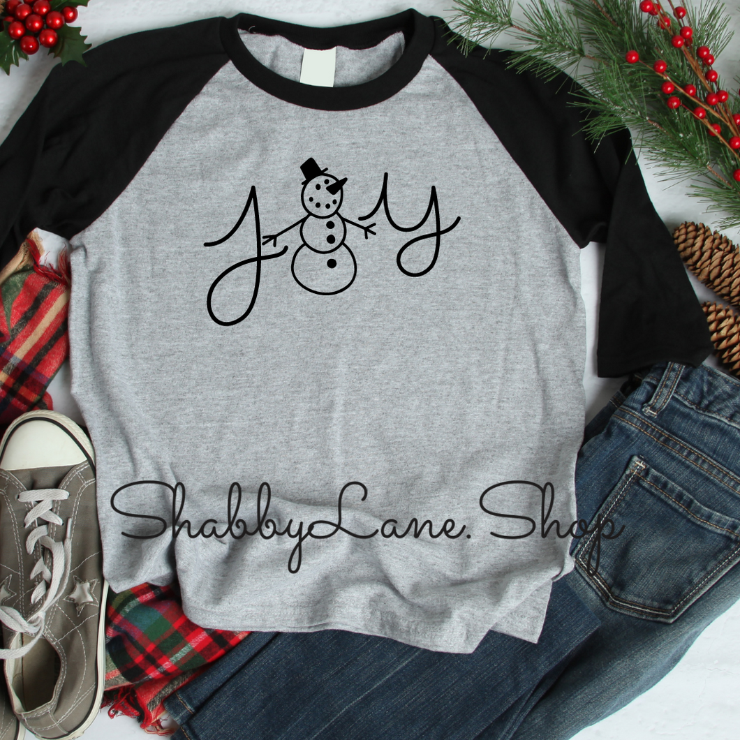 Joy snowman - gray raglan