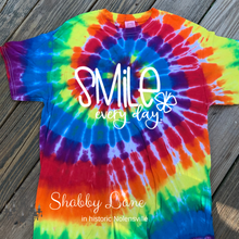 Load image into Gallery viewer, Smile every day tie dye T-shirt rainbow