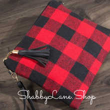 Load image into Gallery viewer, Red plaid crossbody/wristlet