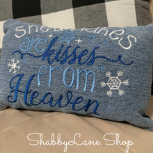 Load image into Gallery viewer, Snowflakes are kisses from heaven accent pillow dark and light blue