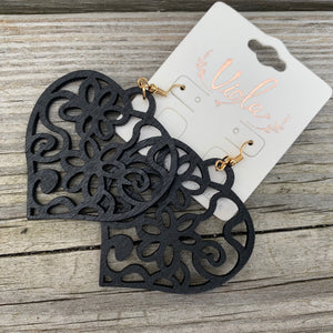 Wooden laser cut heart earrings